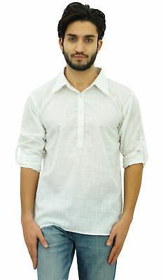 Atasi Men's White Short Kurta Roll-Over Shirt Collar Ethnic