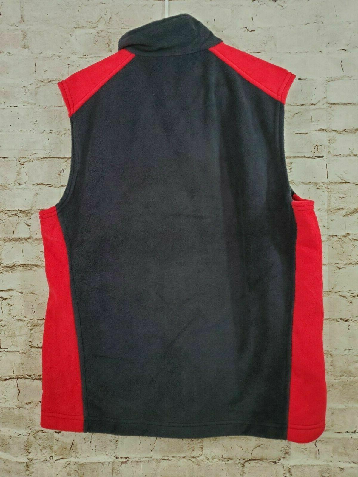 Columbia Men Steens Mountain Vest Zip Soft Fleece Black/Mountain Red M NWOT