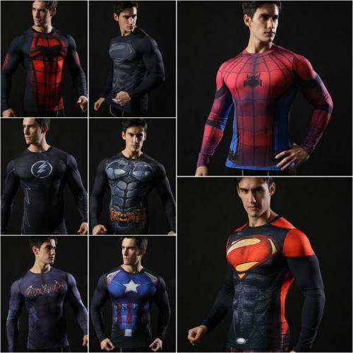 men t shirt compression tops superhero avengers