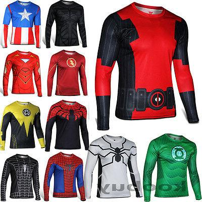 Men T-Shirt  Long Sleeve Compression Tops Superhero Avengers