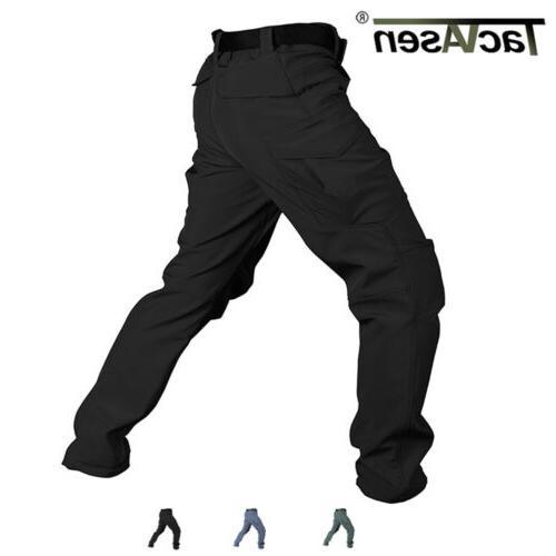 men tactical cargo fleece pants soft shell