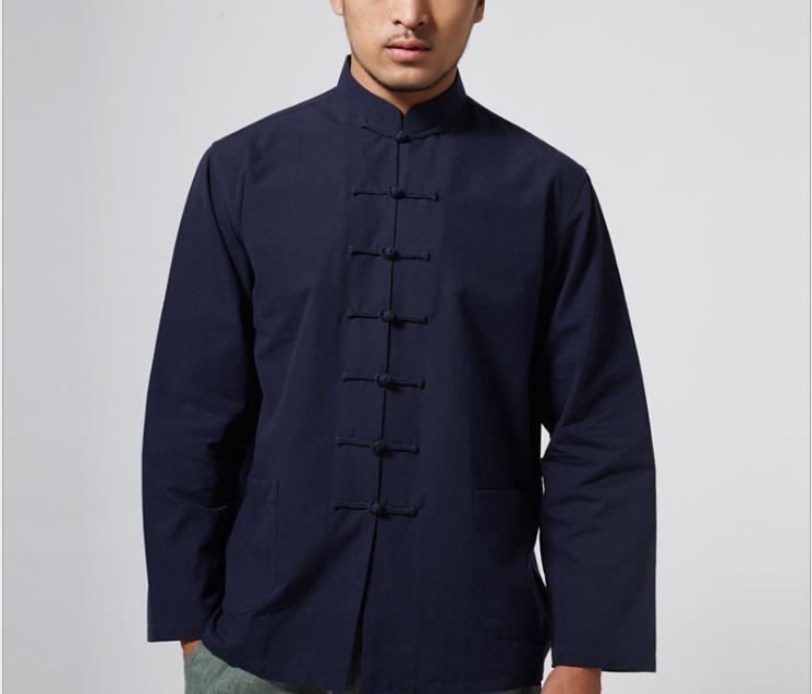 Men Chinese Suit Coat Fu Tai Chi Jacket Clothing
