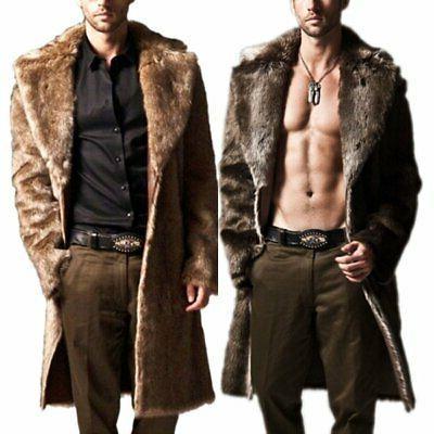men winter warm faux fur coat fashion