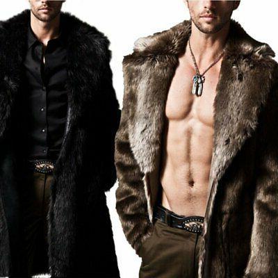 Men Winter Warm Faux Fur Coat Jacket Parka New US