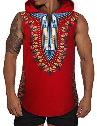 mens african print dashiki hooded fashion sleeveless