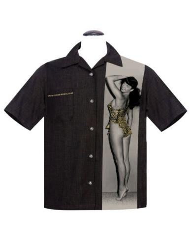 Steady Clothing Mens Bettie Page Untamed Leopard Button Blac
