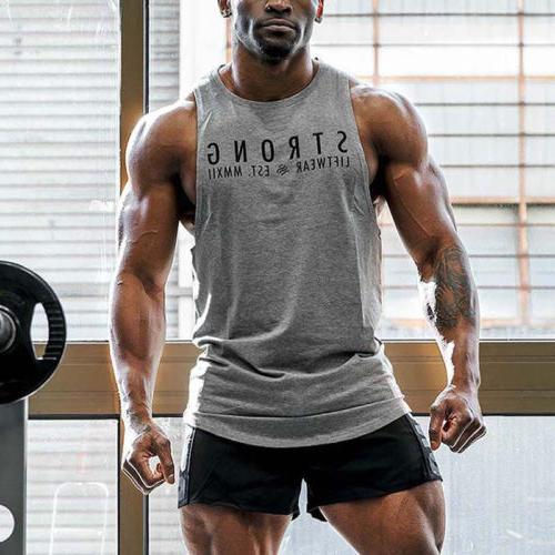 Mens Bodybuilding Stringer Tank Top Y-Back Sports Vest Shirt Clothes