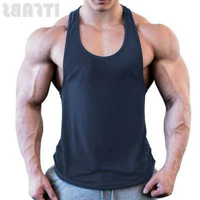 Mens Bodybuilding Top Y-Back Gym Sports Vest Shirt