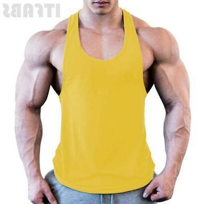 Mens Bodybuilding Stringer Top Workout Sports Vest Shirt Clothes