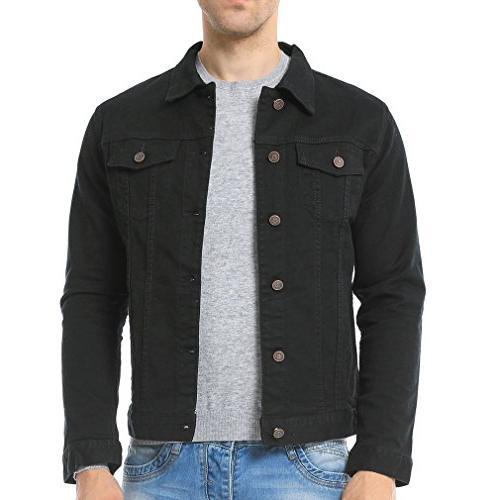 mens casual denim jacket black us small