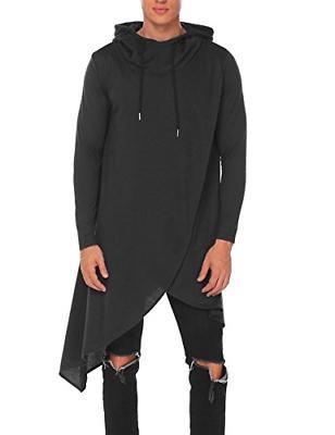 COOFANDY Mens Casual Hooded Poncho Cape Cloak Irregular Hem