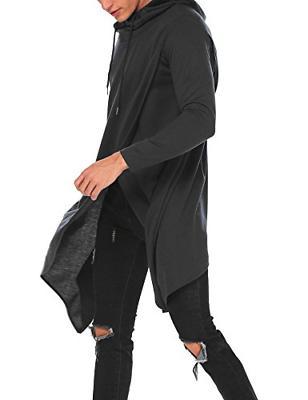 COOFANDY Mens Poncho Cloak Hem Hoodie