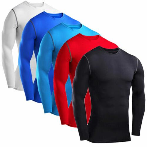 Mens Compression T-shirt Thermal Long Sleeve Gym Sport