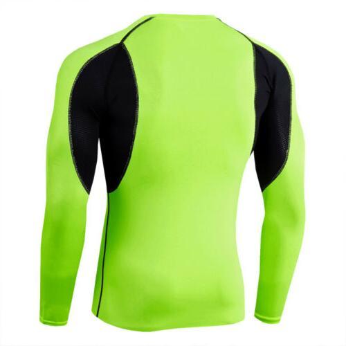 Mens Shirt Long Sleeve Base Layer Sportswear Clothes