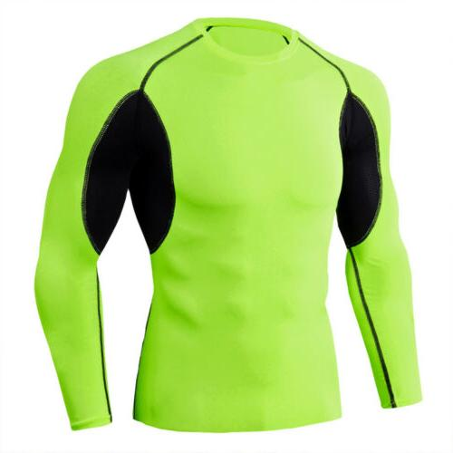 Mens Compression Shirt Long Sleeve Top Workout