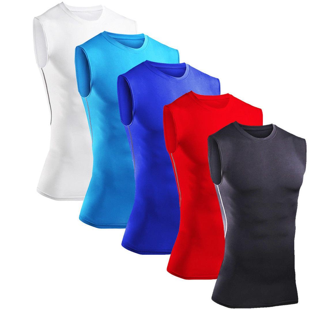 Mens Compression Shirt Vest Gym Running Tights