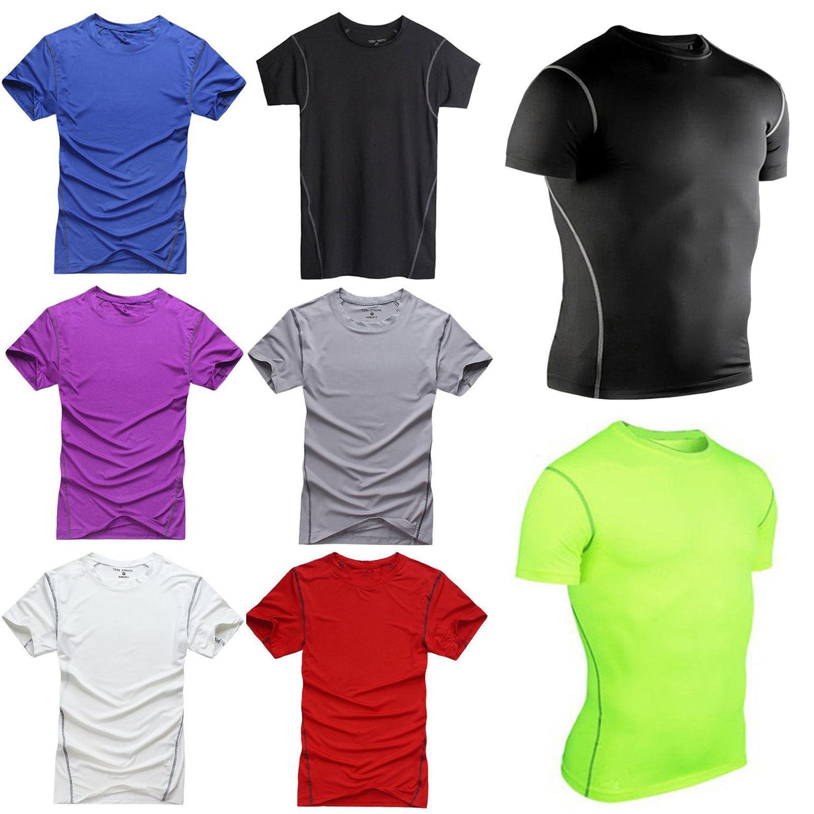 Mens T-Shirt Short Sleeve Base Sports Thermal