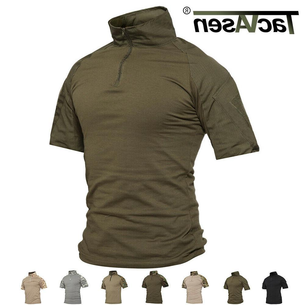 Mens Cotton T-shirt Tactical Military Combat Shirt Camouflag