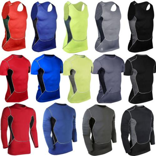 Men Tshirt Compression Skin Layer Athletic Apparel Vest Workout