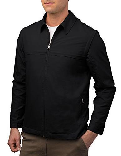 mens jacket 25 pockets travel clothing blk