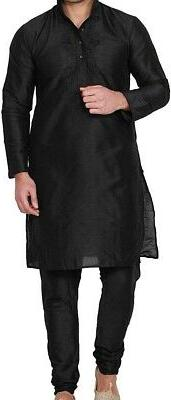 Maple Clothing Mens Kurta Black Size Large L Embroidered Two