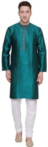 Maple Clothing Mens Kurta Pajama Jacquard Silk Indian Party