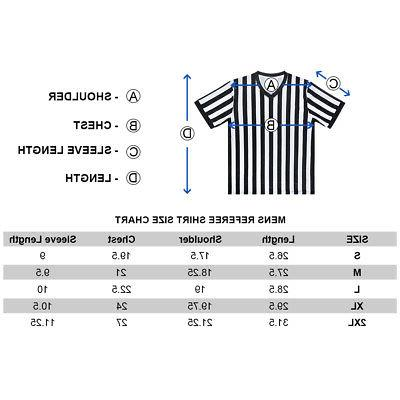 TOPTIE Mens V Neck Black White Referee Shirt Jersey