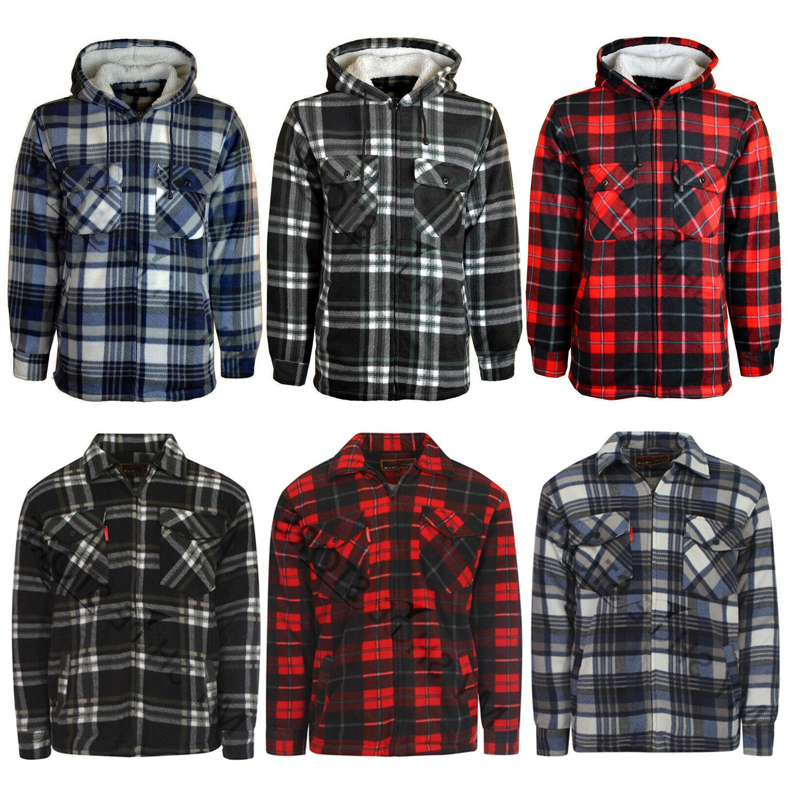 mens padded shirt fur lined lumberjack flannel