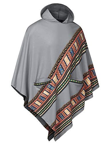 COOFANDY Poncho Cloak Casual Hooded Hem Pullover