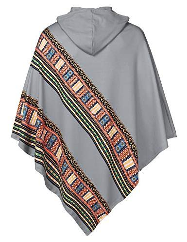 COOFANDY Mens Poncho Cloak Casual Hooded Irregular Hem Hoodie