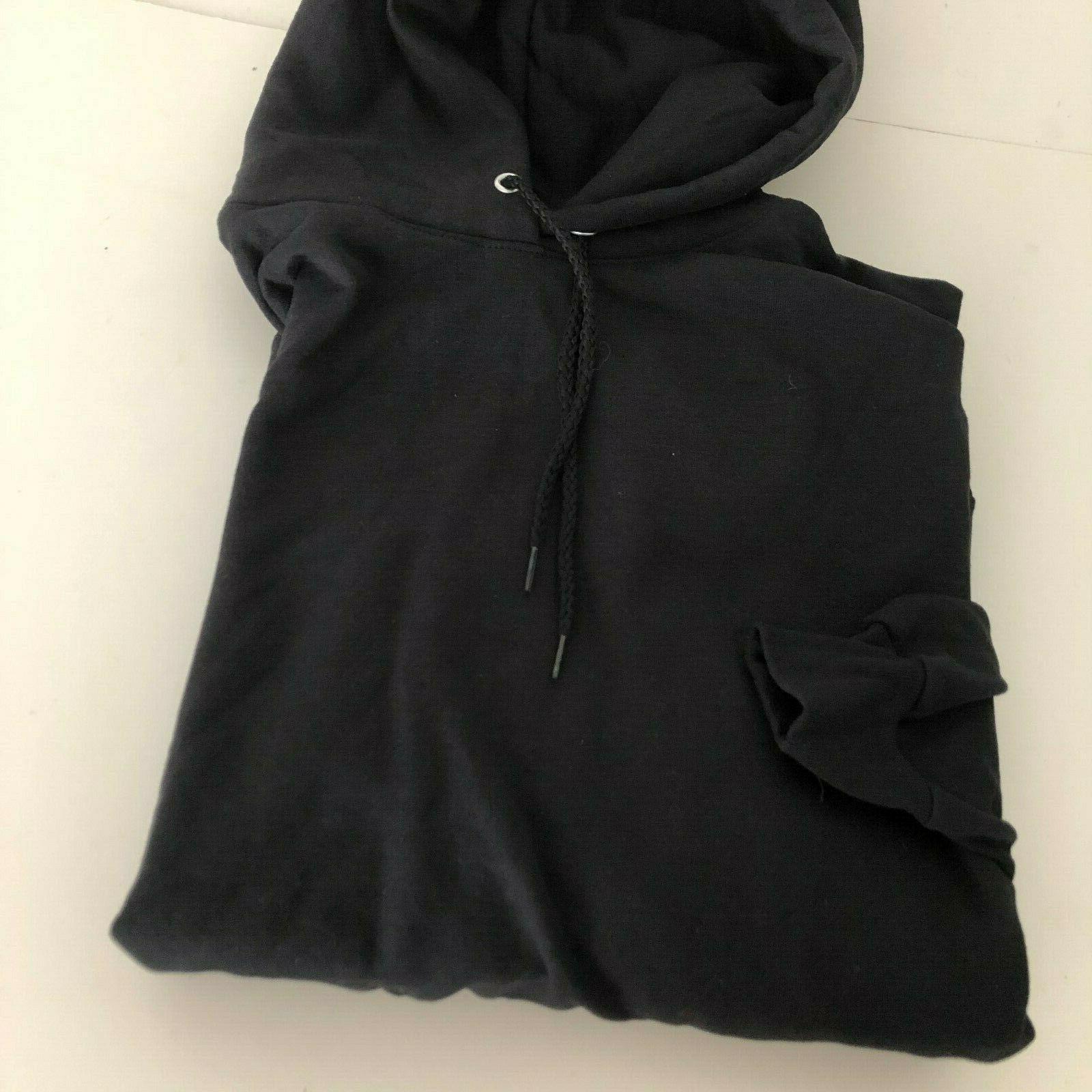 mens pullover ecosmart fleece hooded sweatshirt black