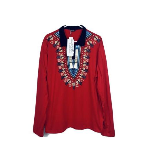 mens red tribal long sleeve shirt size