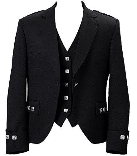 mens scottish argyle kilt jacket with vest