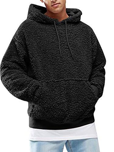 mens sherpa pullover hoodie pebble pile fleece