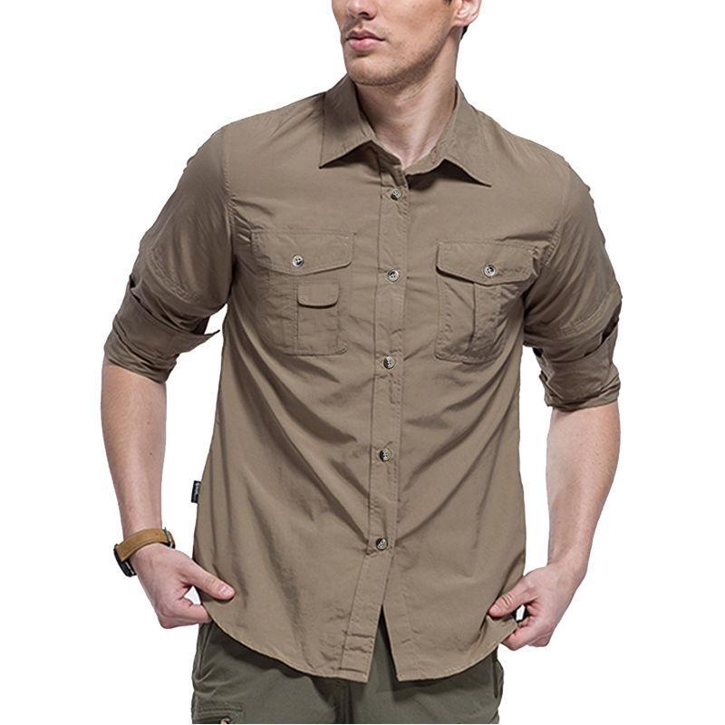 Mens Quick Long Sleeve Hiking Trekking Fish Shirt Jacket