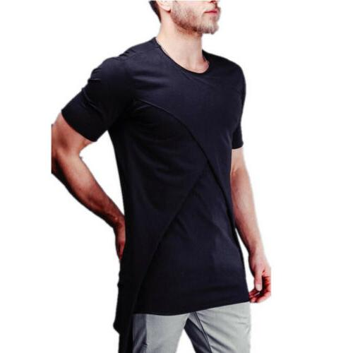 Mens Short TEE Shirt Slim Fit Casual Blouse Muscle