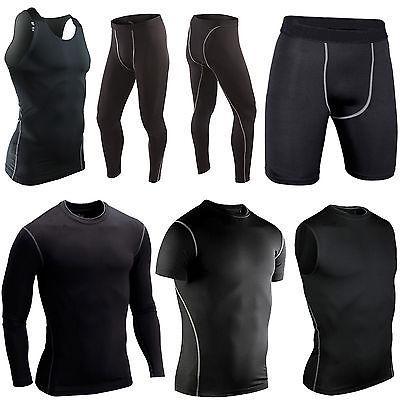 Mens Sport Compression Base Layer Under Long Pants Vest Tops
