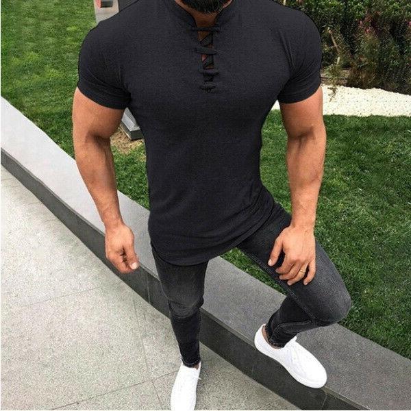 Mens Slim Fit Casual T-shirt Summer Clothes Bodybuilding