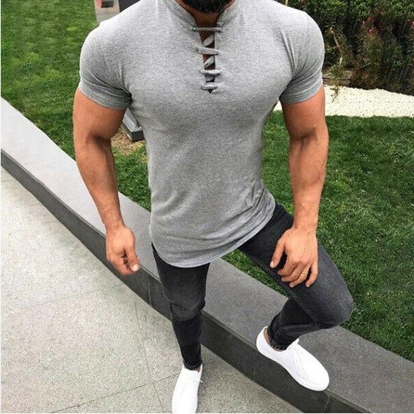 Mens T Fit T-shirt Summer Bodybuilding Tee
