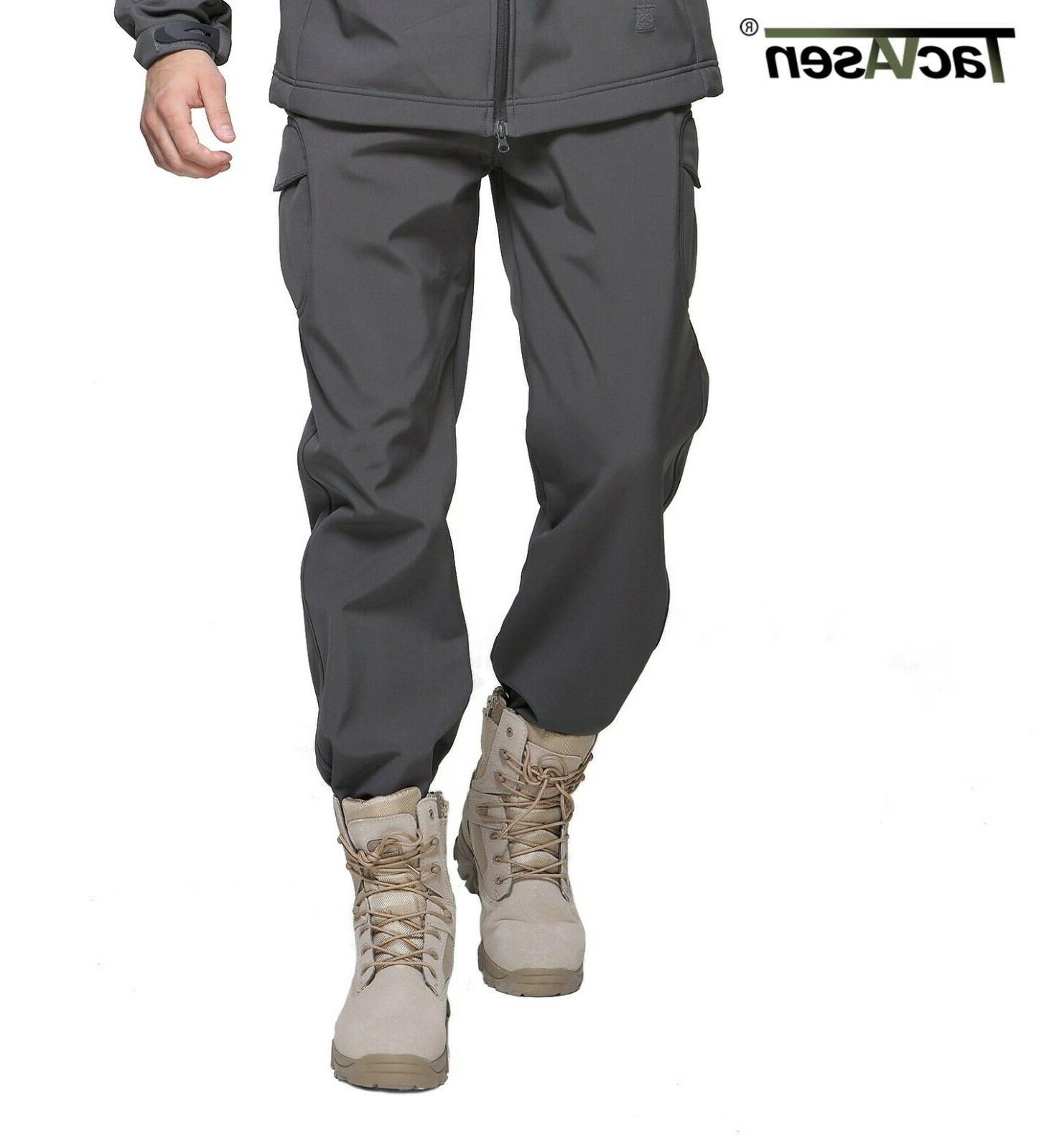 TACVASEN Mens Tactical Pants Fleece Lining Soft Hunting Trousers