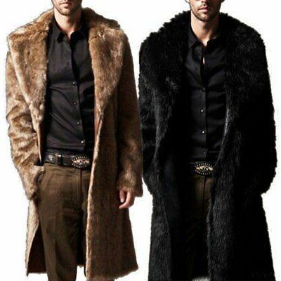 Men Winter Fur Coat Fashion Parka Male Overcoat New US