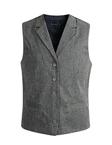 mens wool blend tweed herringbone lapel waistcoat