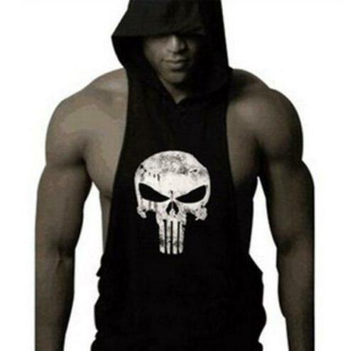 New Men's Gym Clothing Stringer Hoodie Top