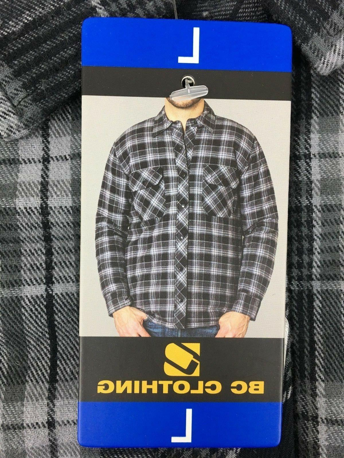 NEW Men's BC Clothing Quilted Shirt GREY PLAID Snap Front Cotton Shell