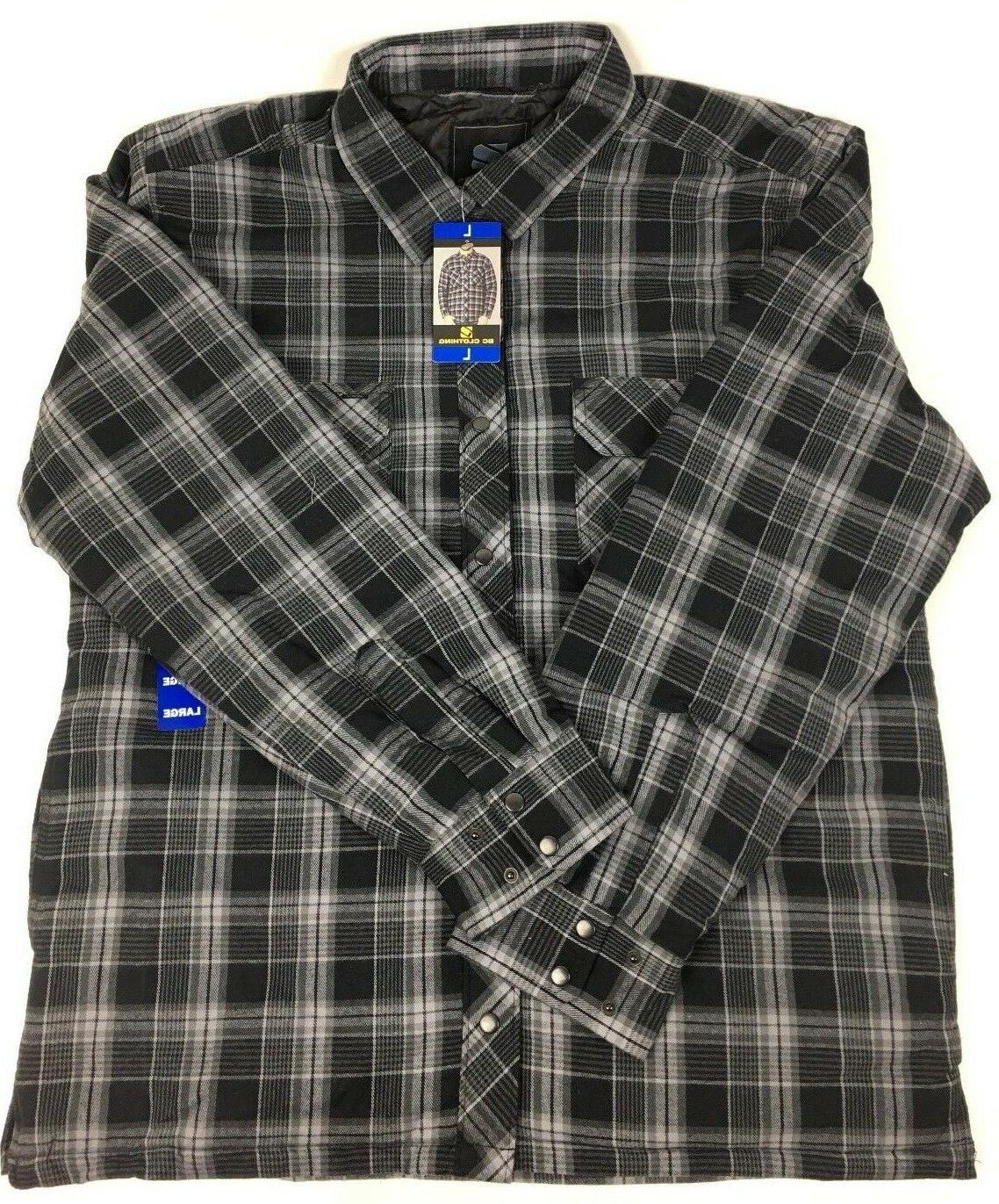NEW Men's Clothing Quilted Shirt Jacket GREY PLAID Snap Cotton Shell L