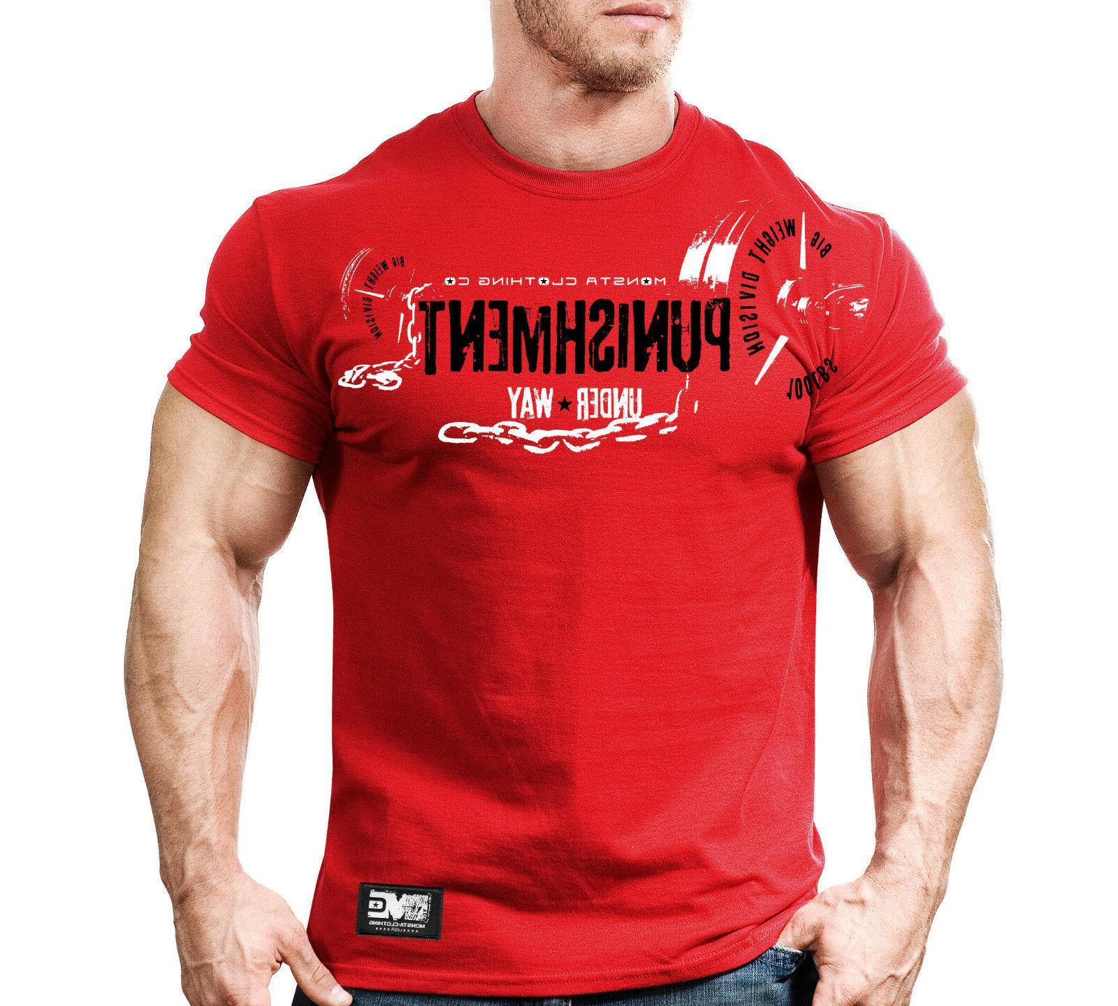 New Mens Monsta Fitness Workout T-shirt - Punishment
