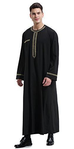 Ababalaya Men's O-Neck Long Sleeve Thobe Islamic Robe,Black,3XL 42