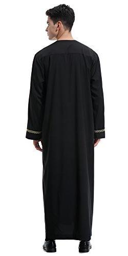 Ababalaya Men's Long Saudi Thobe Dubai Robe,Black,3XL US