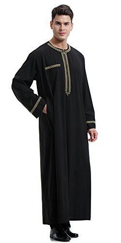Ababalaya Men's O-Neck Long Sleeve Saudi Thobe Robe,Black,3XL Fits