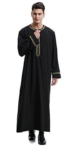 Ababalaya Long Sleeve Saudi Arab Thobe Islamic Muslim Dubai Robe,Black,3XL Fits 42